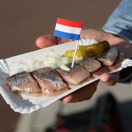 Ah, this is how we like it. Us, Dutchies. Well, only in Amsterdam, I might add. A herring cut into small pieces, tiny cuttings of onions and some gherkin. Everybody else in Holland just stuck it into their troat. The whole fish! Okay, without the head...